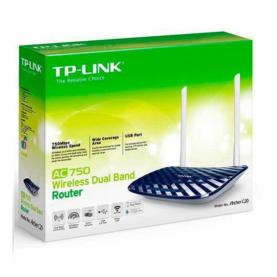 WIR. ROUTER TP-LINK ARCHER C20 AC750 4LAN/1WAN DUAL BAND 10/100